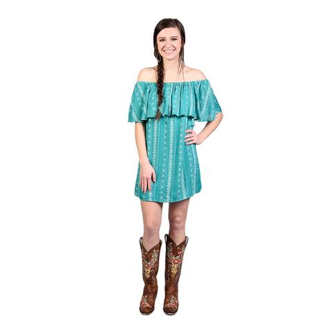 Wrangler Womens Turquoise Ruffle Aztec Dress