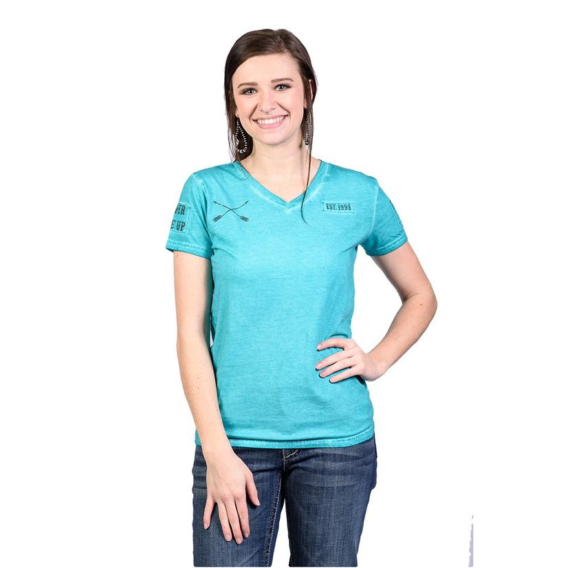 Cowgirl Tuff Womens Turquoise Arrow Short Sleeve Shirt