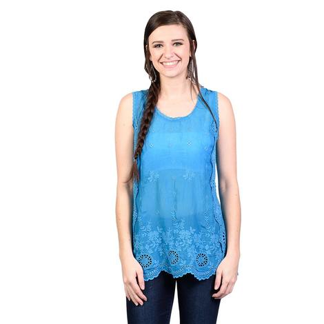 Johnny Was Womens Mediterranean Blue Kobi Tank