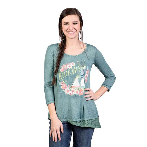 Panhandle Slim Womens Three Quarter Sleeve Ride West Graphic Top
