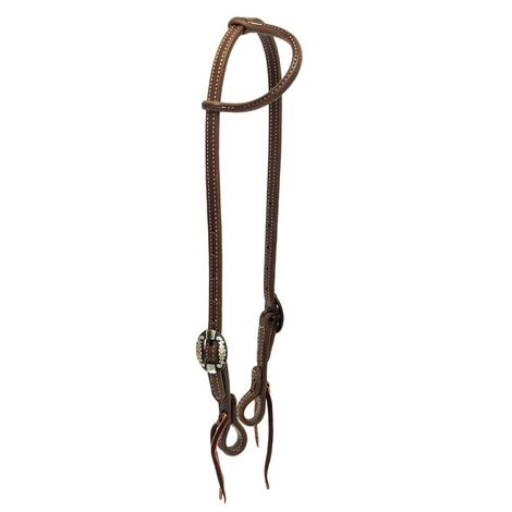 STT Slide Ear Headstall Double Oval Silver Buckle 5/8