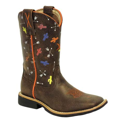 Twisted X Kids Brown Arrow Cactus Square Toe Boot