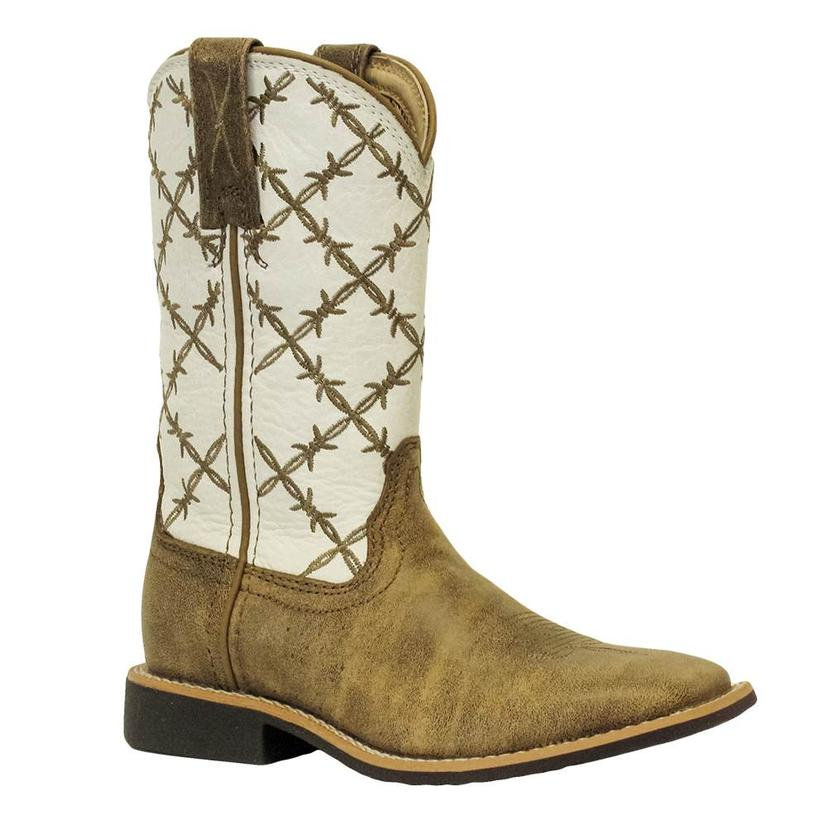 Twisted X White Bomber Barbed Wire Square Toe Youth Boot