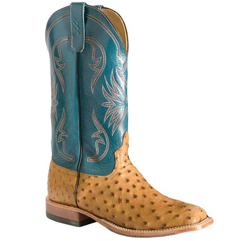 Anderson Bean Mens Saddle Full Quill Ostrich Garganey Blue Boots