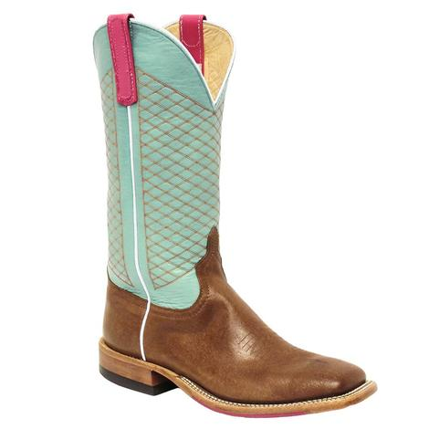 Anderson Bean Womens Camel Mint Glove Criss Cross Stitch Boot