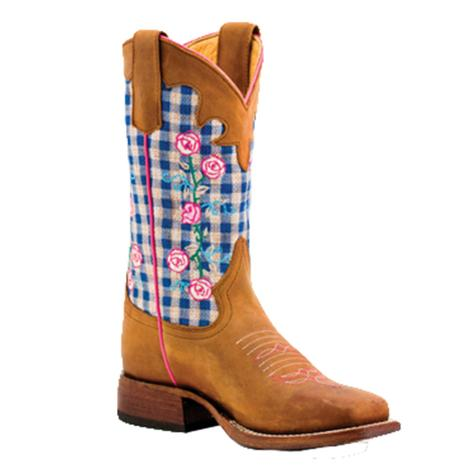 Macie Bean Girls Blue Checkered Rose Western Boots
