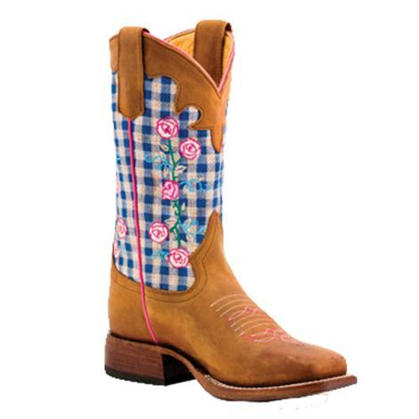 e56e84c3d03c Macie Bean Girls Blue Checkered Rose Western Boots