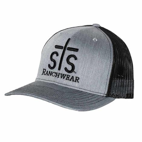 STS Ranchwear Puff Stitch Grey and Black Mesh Back Cap