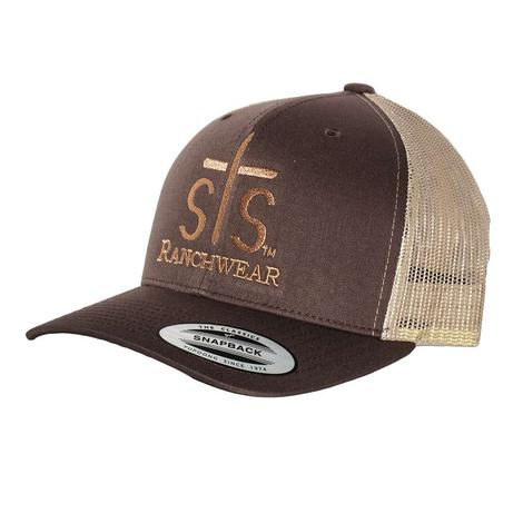 STS Ranchwear Brown Tan Puff Stitch Mesh Back Cap