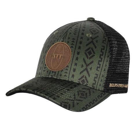 STT Olive Aztec Leather Patch Cap