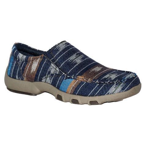 Roper Mens Blue Aztec Slip-on Shoes