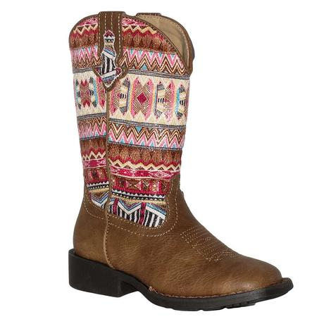 Roper Pink Aztec Square Toe Girl's Boot