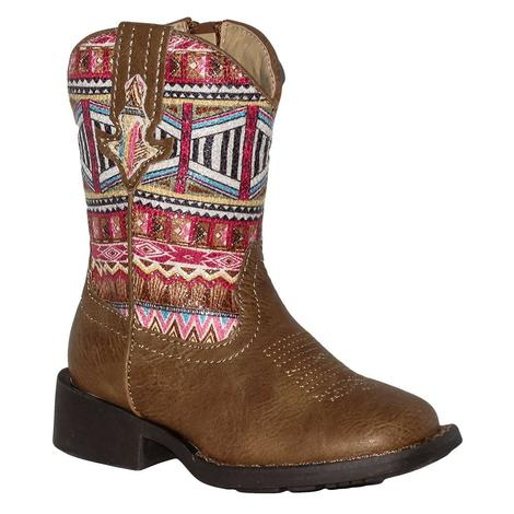 Roper Toddler Pink Aztec Square Toe Boots