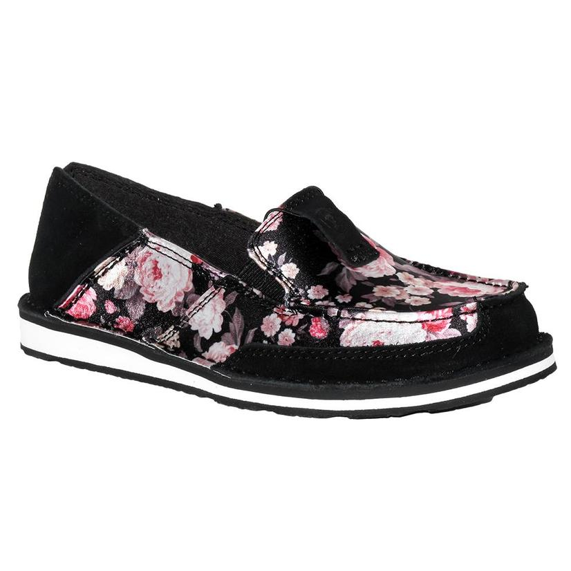 Ariat Womens Black Satin Floral Cruiser