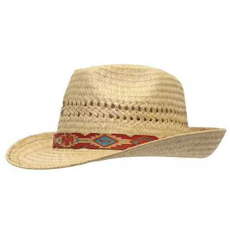Charlie 1 Horse Red Aztec Band Straw Fedora