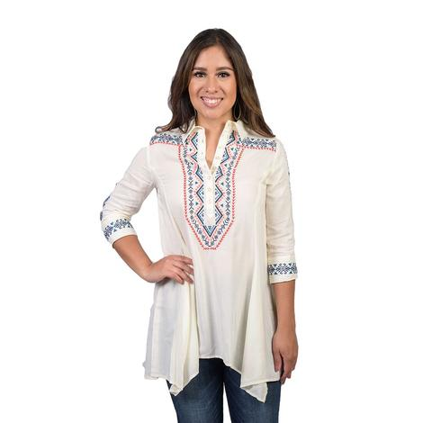 Roper Womens Cream Embroidered Button Tunic