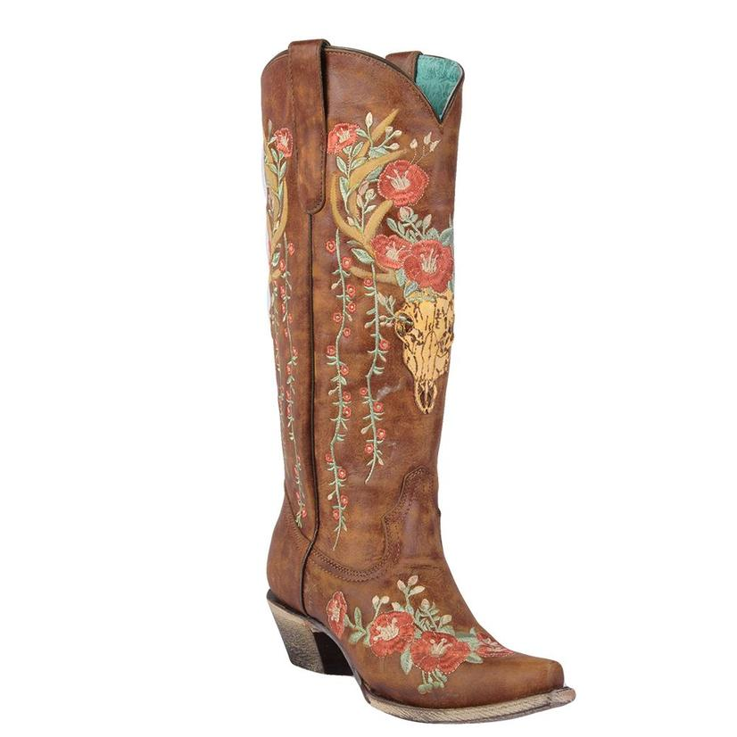 Corral Womens Tan Deer Skull Floral Embroidery Western Boots