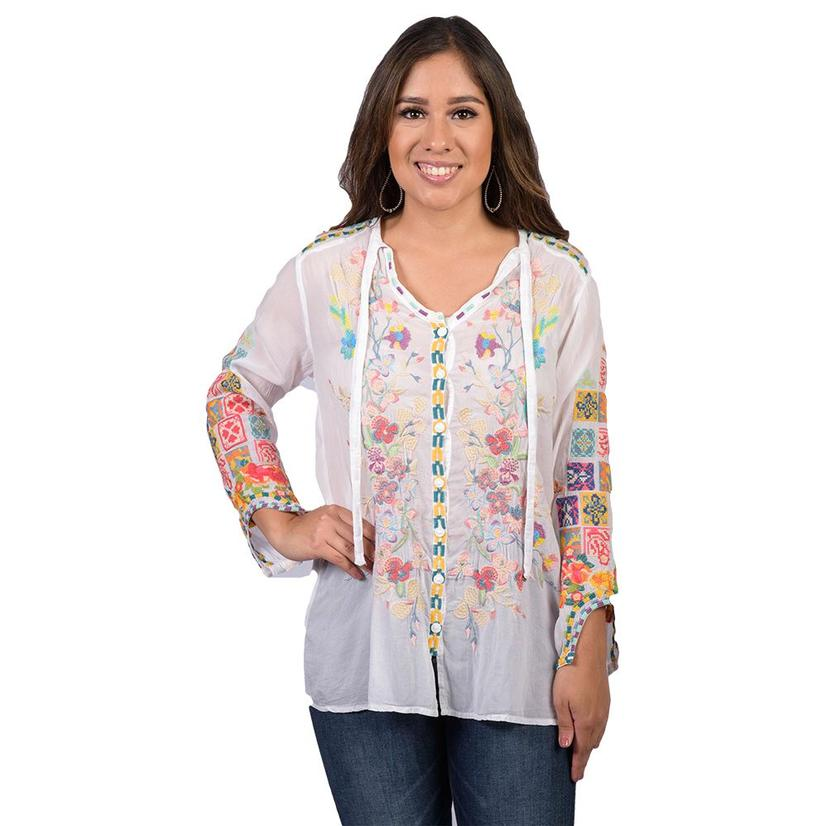 Johnny Was Womens Nikolita White Floral Embroidered Blouse