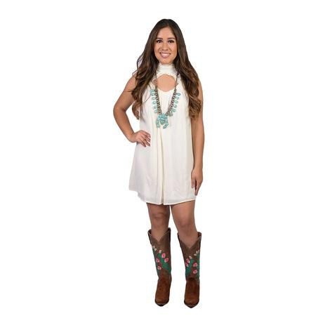 Womens Ivory Lace High Neck Sleeveless Dress