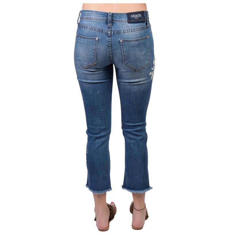 Grace In La Womens Easy Capri Distress Hem Embroidered Jeans