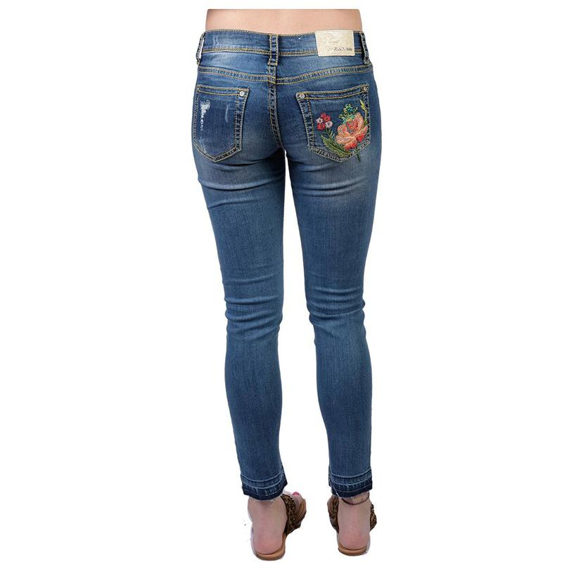 Grace In La Womens Embroidered Distressed Skinny Jeans