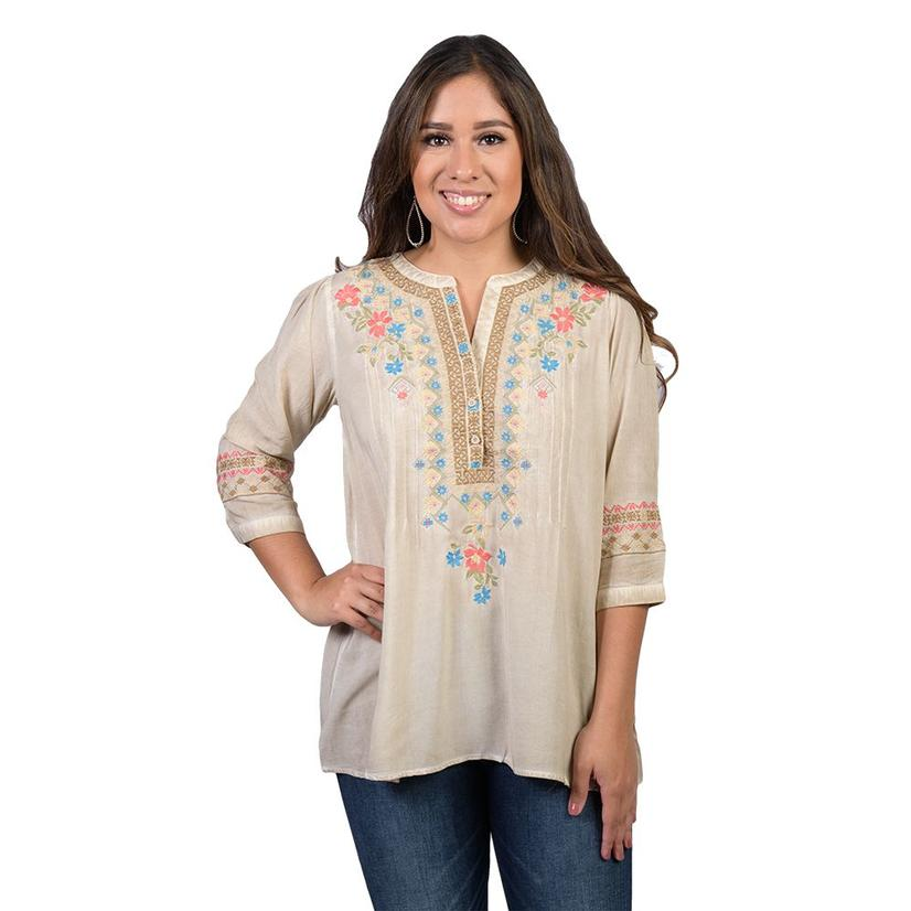Womens Bohemian Creme Embroidered Top