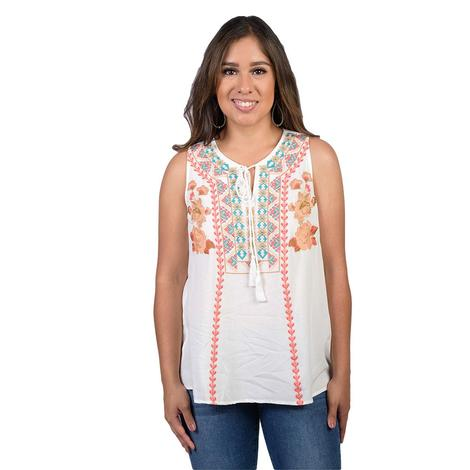Ivory Womens Embroidered Sleeveless Top