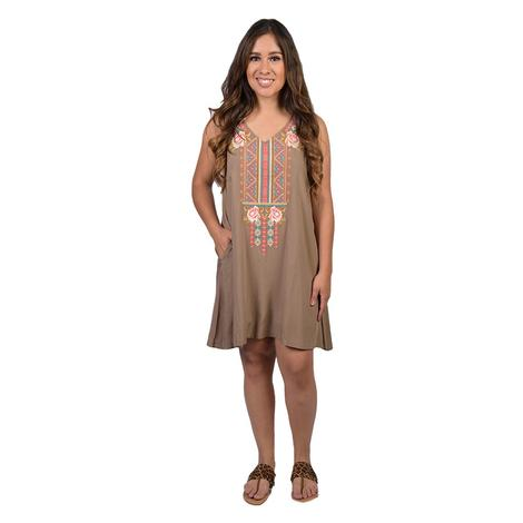 Womens Olive Sleeveless Embroidered Shift