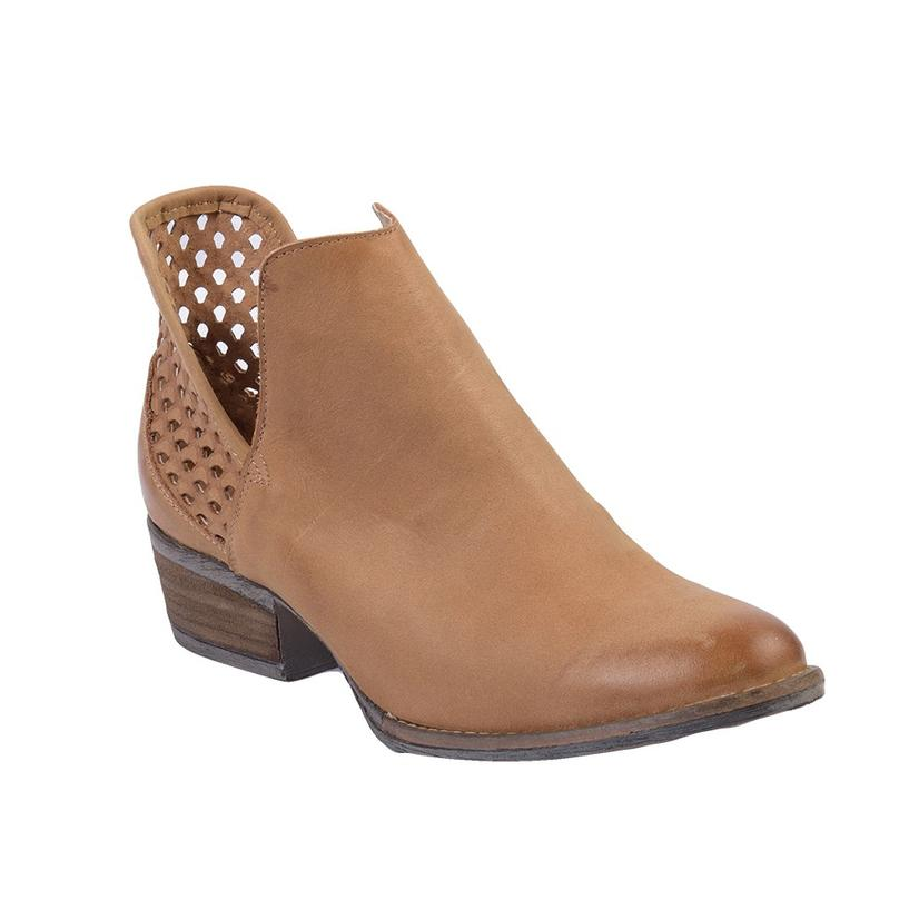Corral Womens Light Brown Cutout Shortie Ankle Boots