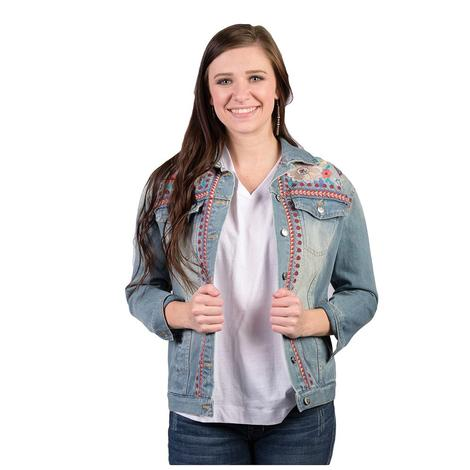 Johnny Was Womens Oman Denim Jacket