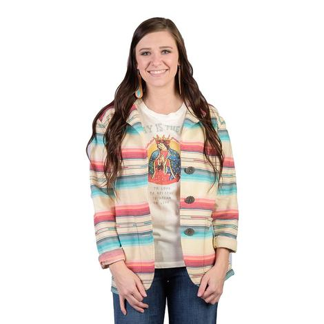 Silverado Womens Navajo White Serape Blazer