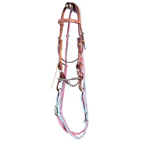 STT Pony Snaffle Mouth Bridle Set Pink Turquoise Reins