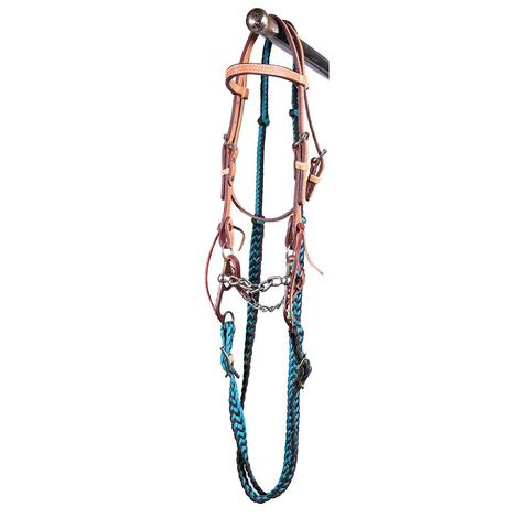 STT Pony Chain Mouth Bridle Set Black Teal Reins