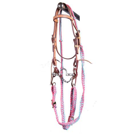 STT Pony Ported Chain Mouth Bridle Set Pink Turquoise Reins