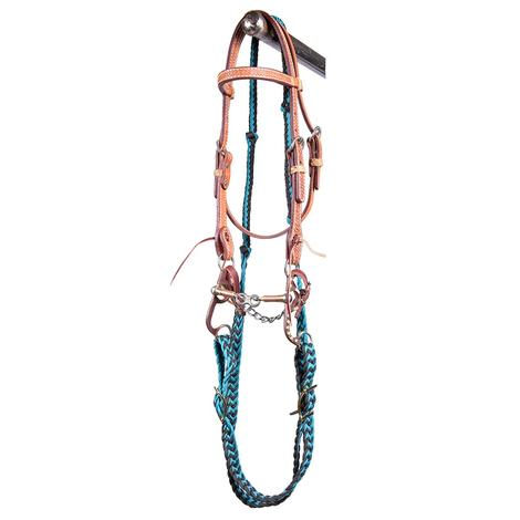 STT Pony Dog Bone Mouth Bridle Set Black Teal Reins