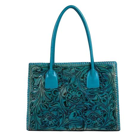 Juan Antonio Tooled Turquoise Tote Bag