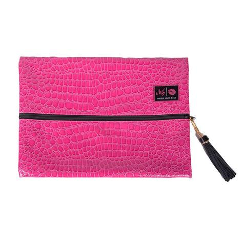 Meredith Hot Pink Croc Bag - Large