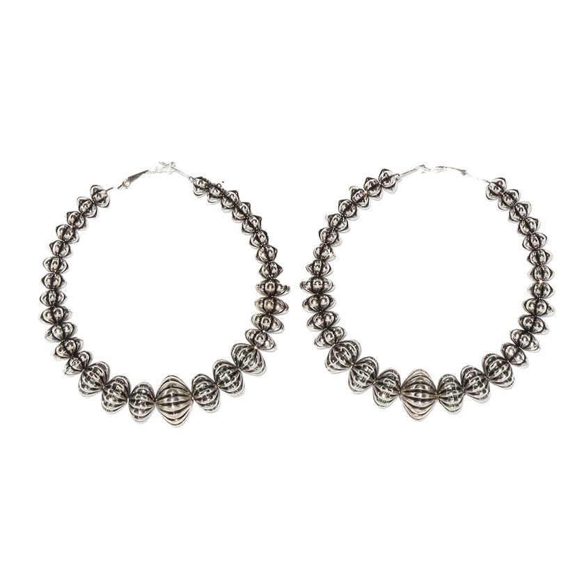 Western Bead Graduated Hoop Earrings