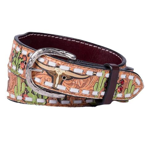 Womens Cactus Steer Rodeo White Lace Belt