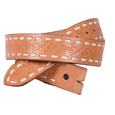 Miranda McIntire Leather Rose Tool White Stitch Belt