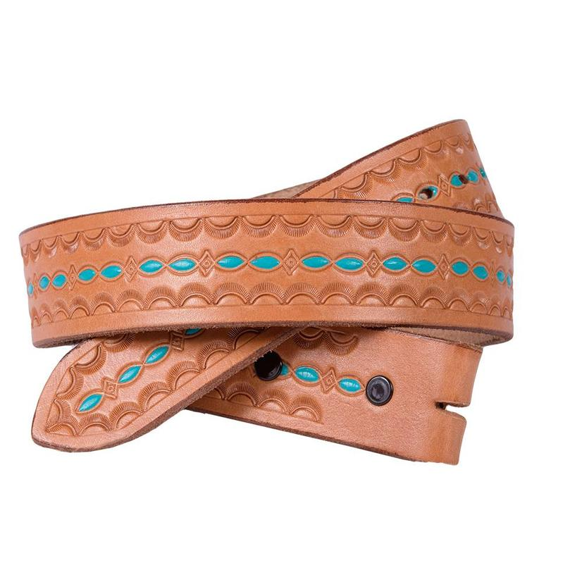 Miranda Mcintire Womens Natural Leather W/Real Center Turquoise Inlay Belt