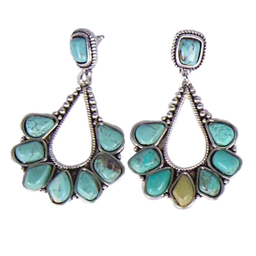 Natural Turquoise Long Loop Post Earrings