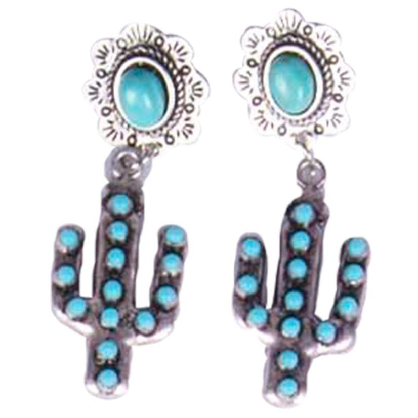 Natural Turquoise Post Cactus Earrings