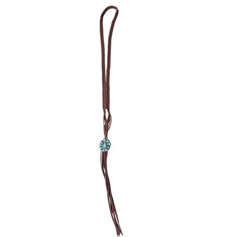 Natural Turquoise Pendant On Long Suede Necklace