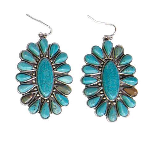 Natural Turquoise Sunburst Fish Hook Earrings