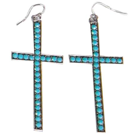 Turquoise Crystal Laid Cross Earrings