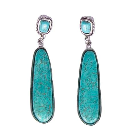 Natural Turquoise Long Post Earrings