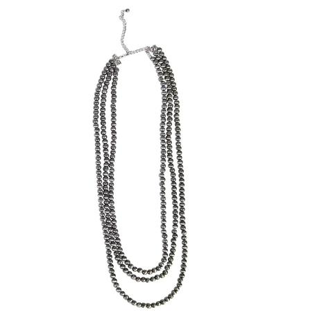 Long Pewter Western Pearl Necklace