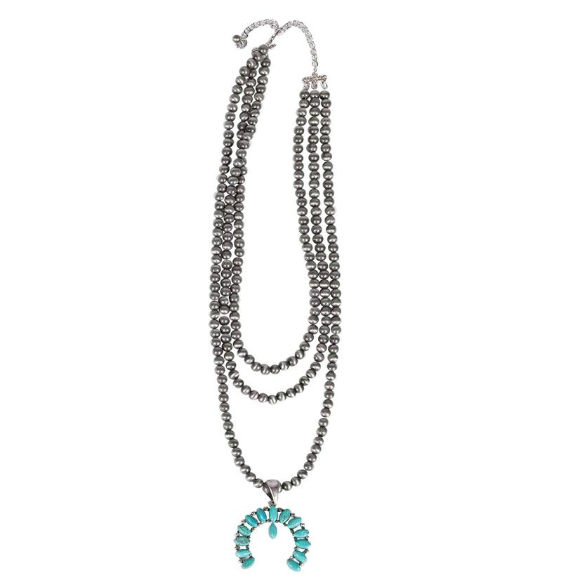 Natural Turquoise Squash Blossom Naja Necklace