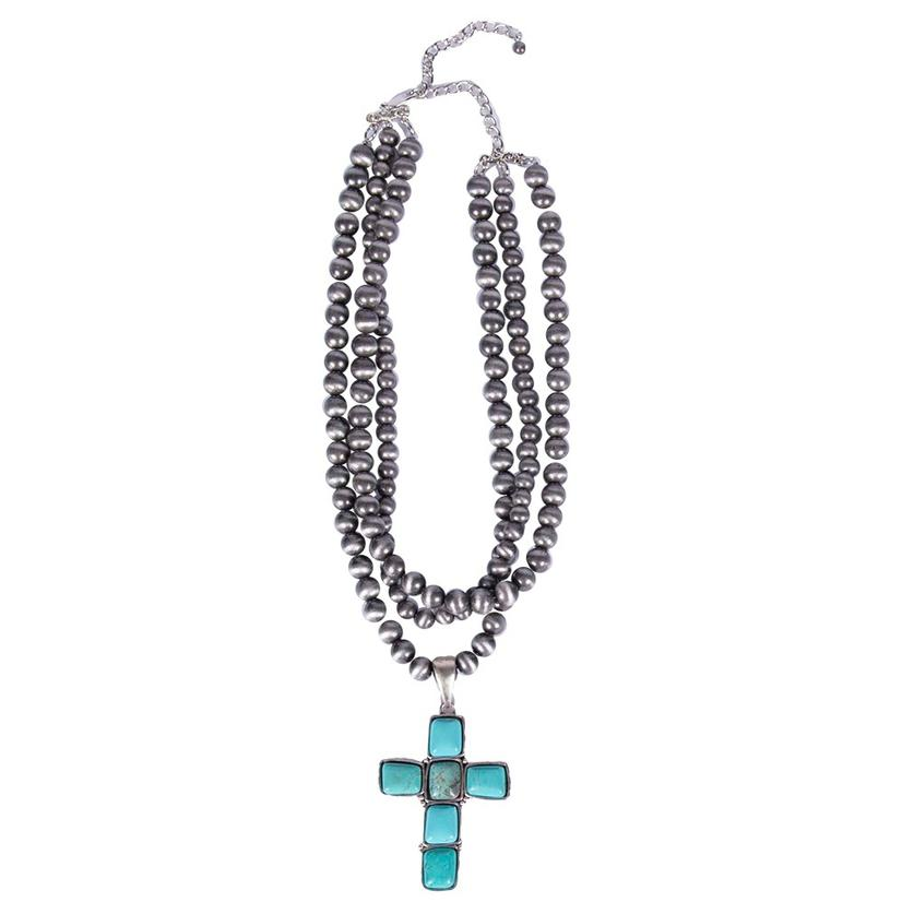 Navajo Pearl And Turquoise Cross 18 Inch Necklace